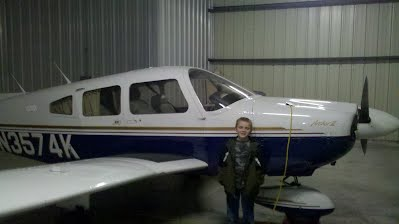 N3574K Archer II with Wyatt after his first flight with Dad!